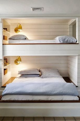 Cottage Guest Bedroom with Built-in bookshelf, Ultrasoft Comfort Flannel Pillowcases, Hardwood floors