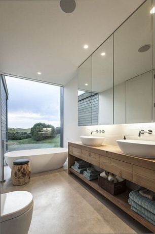 Contemporary Master Bathroom with Ritter Vessel Sink, Master bathroom, Freestanding, European Cabinets, Vessel sink, Flush