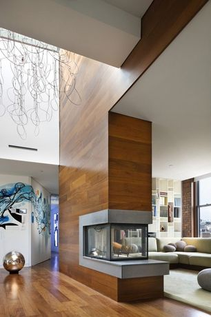 Contemporary Great Room with Hardwood floors, Fireplace, High ceiling, can lights, insert fireplace, double-hung window