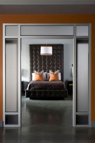 Contemporary Master Bedroom with Built-in bookshelf, Pendant light, complex marble floors