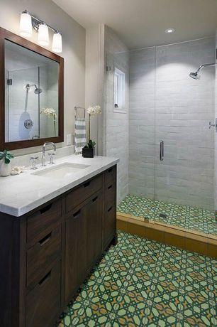 Contemporary 3/4 Bathroom with partial backsplash, three quarter bath, Inset cabinets, ceramic tile floors, Undermount sink
