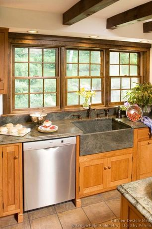 Craftsman Kitchen with stone tile floors, One-wall, dishwasher, Standard height, Kitchen island, Complex granite counters