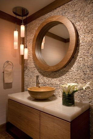 Contemporary Powder Room with Hardwood floors, European Cabinets, Calacatta gold honed marble, Vessel sink, Flush