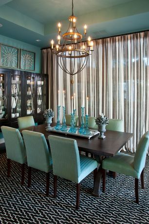 Contemporary Dining Room with Chandelier, Sea Glass Pillar Candle Holder, Carpet, Box ceiling, Shell Shadow Boxes