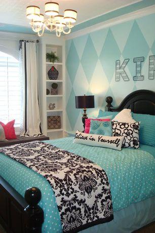 Eclectic Kids Bedroom with Carpet, Arched window, Paint 2, American Drew Camden Panel Bed, no bedroom feature, Chandelier