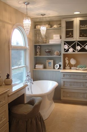 Cottage Master Bathroom with Paintable white beadboard, Flat panel cabinets, Arched window, Flush, Freestanding, flush light