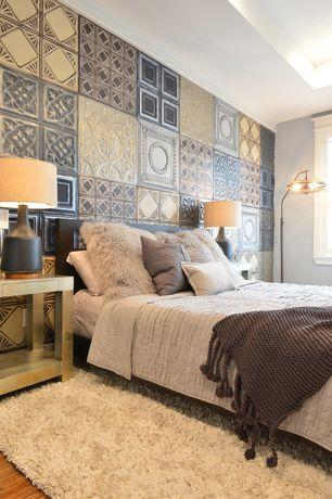 Modern Master Bedroom with West Elm Cozy Textured Wool Rug, Industrial Cage 3-Light Arc Rust Floor Lamp, interior wallpaper