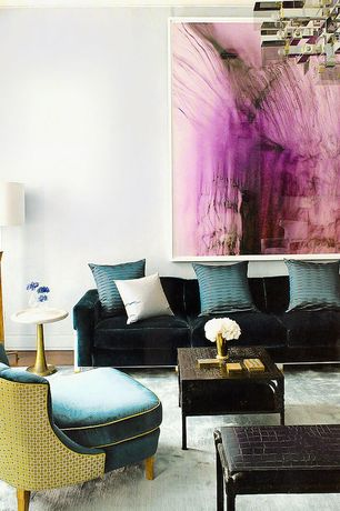 Contemporary Living Room with Chandelier, Hardwood floors, Standard height