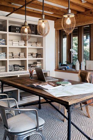 Craftsman Home Office with Austin Desk, Exposed beam, Clark Two Tone Soft Jute Rug, Built-in bookshelf, Pendant light