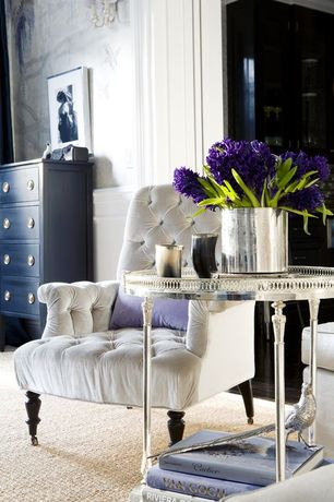 room with Paint, interior wallpaper, Tufted chair, Berber carpet, Upholstered armchair, Painted dresser, Silver side table