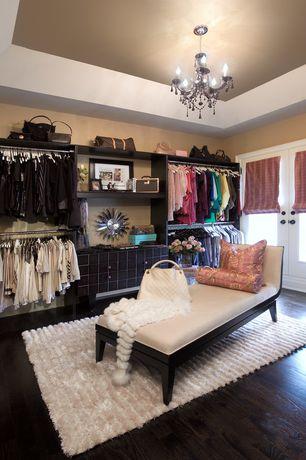 Eclectic Closet with French doors, Chandelier, Hardwood floors, Paint, Built-in bookshelf, Black crystal chandelier