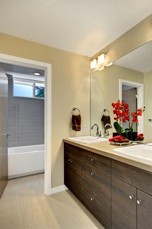 Contemporary Full Bathroom with flat door, Drop-in sink, Standard height, Paint, Full Bath, Bathtub, Flush, European Cabinets
