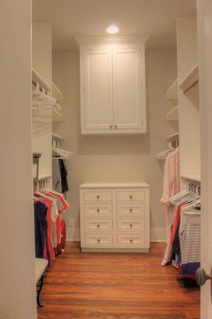 Traditional Closet with Hardwood floors, can lights, Hand scraped maple sedona, click lock hardwood flooring, High ceiling