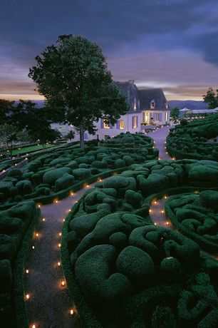 Traditional Landscape/Yard with exterior stone floors, Pathway, Wintergreen Boxwood, Formal hedge, Gazebo