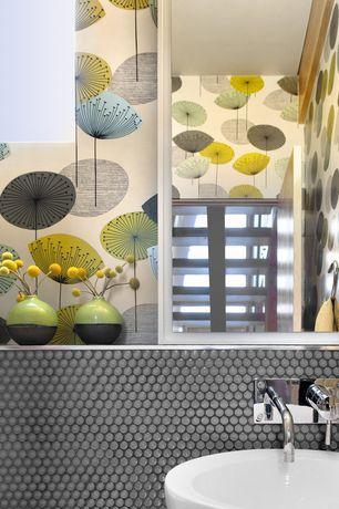 Contemporary Powder Room with Dandelion Clocks Wallpaper, Powder room, Penny Round Grey Porcelain Mosaic, interior wallpaper
