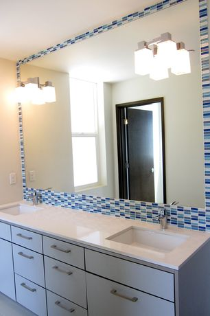 Contemporary Full Bathroom with Undermount sink, Travertine counters, Double sink, Ceramic Tile, Flush, European Cabinets