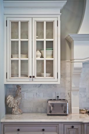 Traditional Kitchen with Simple marble counters, Ms international bianco venatino marble, Crown molding, Custom hood