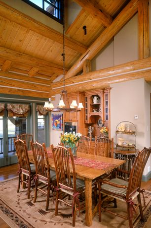Country Dining Room with Built-in bookshelf, Hardwood floors, Chandelier, High ceiling, French doors, Exposed beam