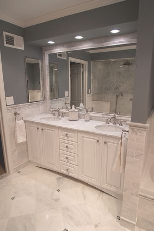 Traditional Master Bathroom with Crown molding, Raised panel, Double sink, Master bathroom, specialty door, Undermount sink