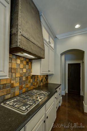 Eclectic Kitchen with One-wall, Simple granite counters, Slate Tile, Crown molding, Stone Tile, flush light, Raised panel