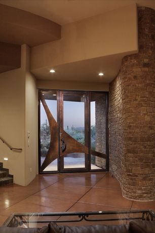 Contemporary Entryway with Glass panel door, Concrete tile , Wall sconce, can lights, picture window, Paint 1