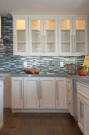 Traditional Kitchen with Ceramic Tile, Flat panel cabinets, Jeffrey court stratosphere blue pencil mosaic wall tile, L-shaped
