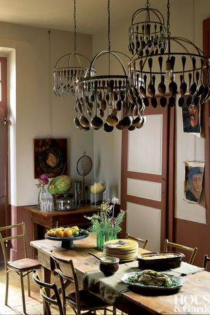 Country Dining Room with Interlocking Pavers, specialty door, Standard height, Transom window, Pendant light