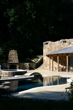 Rustic Swimming Pool with exterior concrete tile floors, Raised beds, Natural stone floor tile, Pool with hot tub, Pathway