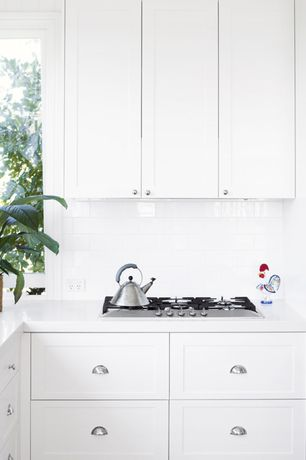 Traditional Kitchen with Shaker cabinet, White kitchen cabinets, 2.4-qt. Whistling Tea Kettle, Shaker cabinets