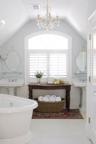 Cottage Master Bathroom with Arched window, Ren-wil emma all glass 28-inch frameless mirror, Pedestal sink, Freestanding