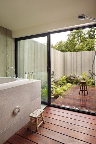 Contemporary Master Bathroom with Hardwood floors, Signature hardware isola hand shower with slide bar, Handheld showerhead