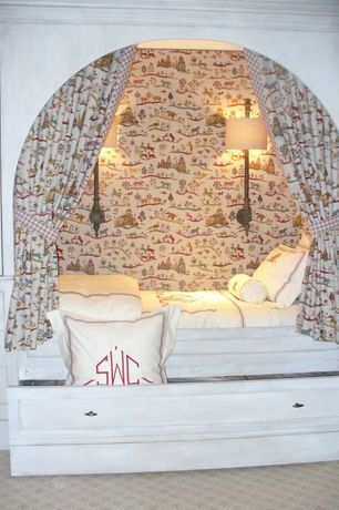 Traditional Kids Bedroom with Built-in bookshelf, no bedroom feature, Carpet, interior wallpaper, Wall sconce