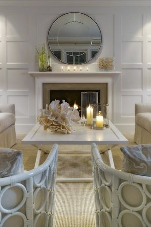 "Cottage Living Room with Cement fireplace, Lamps plus - city centre contemporary frameless 31 1/2"" round mirror, Fireplace"