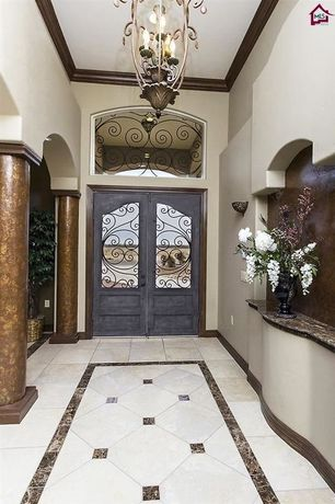 Mediterranean Entryway with Columns, Pental  Coliseu Polished Granite, Daltile Veranda Solids Pearl Porcelain Field Tile