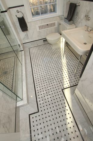 "Traditional Full Bathroom with Carrara (carrera) venato marble 12x12"" honed tile"