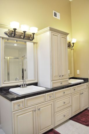 Traditional Master Bathroom with drop-in sink, full backsplash, Paint, limestone tile floors, Flat panel cabinets, Flush