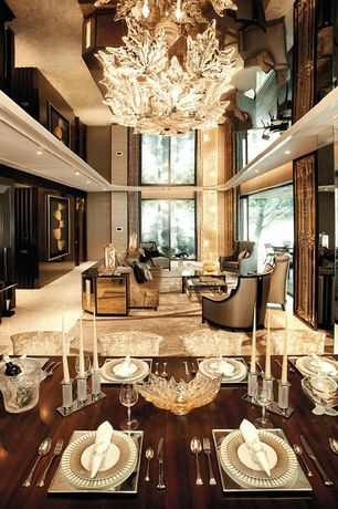 Art Deco Living Room with Chandelier, Lalique Clear Zeila Panther Figure - Small, travertine tile floors, High ceiling