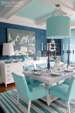 Contemporary Dining Room with Wainscotting, Pendant light, Hardwood floors, Kravet Vase Rectangle Table, interior wallpaper