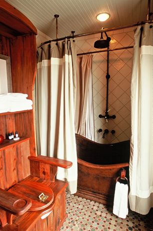 Eclectic Full Bathroom with ceramic tile floors, Native trails cps902 72' aurora free standing antique finish copper tub