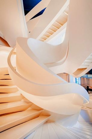 Contemporary Staircase with Laminate floors, Spiral staircase