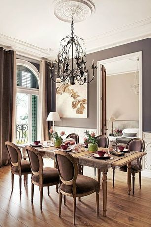 Traditional Dining Room with Chandelier, Restoration Hardware Vintage French Round Fabric Side Chair, Wainscotting