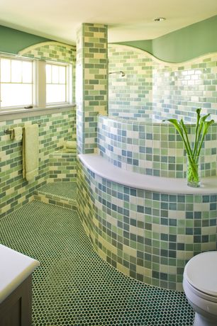 Contemporary Master Bathroom with Rip Curl Green and Blue Hand Painted Glass Subway Mosaic Tiles, Rain shower