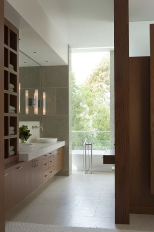 Contemporary Master Bathroom with Sand beige 18 in. x 18 in. ceramic floor and wall tile, Flush, Balcony, Master bathroom