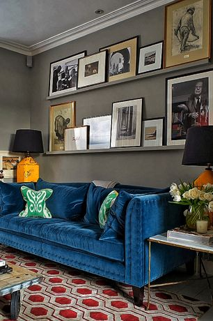 Contemporary Living Room with can lights, Crown molding, Standard height, Buckingham Blue Velvet Tufted Sofa, Area rug, Paint