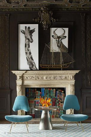 Eclectic Living Room with Crown molding, Jonathan adler - talitha side table, Jonathan adler - maxime lounge chair