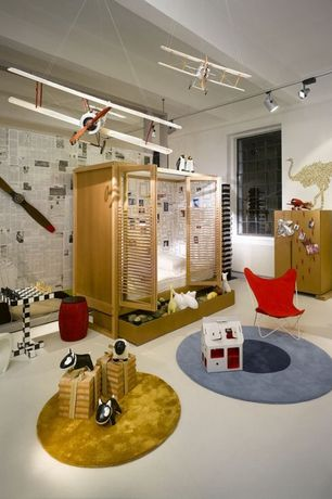 Contemporary Playroom with Carpet, Standard height, Exposed beam, Pendant light, Casement