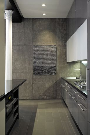 Contemporary Kitchen with slate tile floors, European Cabinets, U-shaped, Soapstone counters, Columns, Flush, Undermount sink