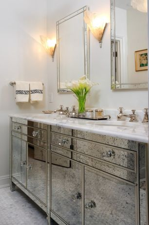Traditional Master Bathroom with partial backsplash, Art Deco Wall sconce, Flat panel cabinets, Inset cabinets, Paint 1
