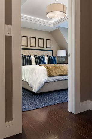 Contemporary Master Bedroom with Chestnut wood stain, flush light, Standard height, Baxton studio - bristol king-sized bed