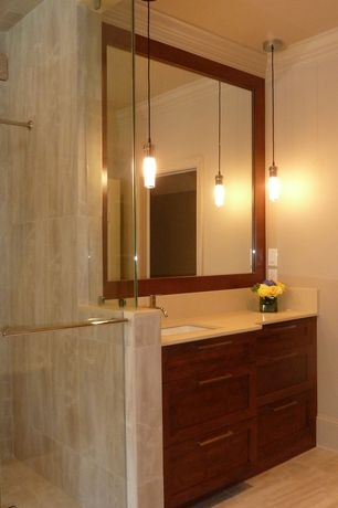 Contemporary Master Bathroom with three quarter bath, Travertine counters, Undermount sink, Pendant light, Crown molding